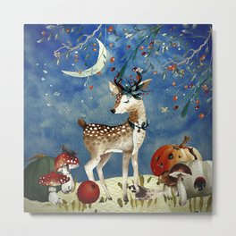 Autumn Woodland Friends Deer Forest Illustration Metal Print