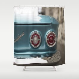Vintage Chevy Turquoise Blue & Red Shower Curtain