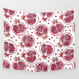 Pomegranate watercolor and ink pattern Wall Tapestry