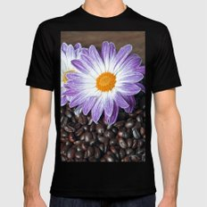 COFFEE & VIOLET DAISY  X-LARGE Mens Fitted Tee Black