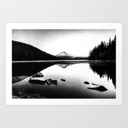 Fantastic Morning - Mount Hood Reflection Black and White Art Print