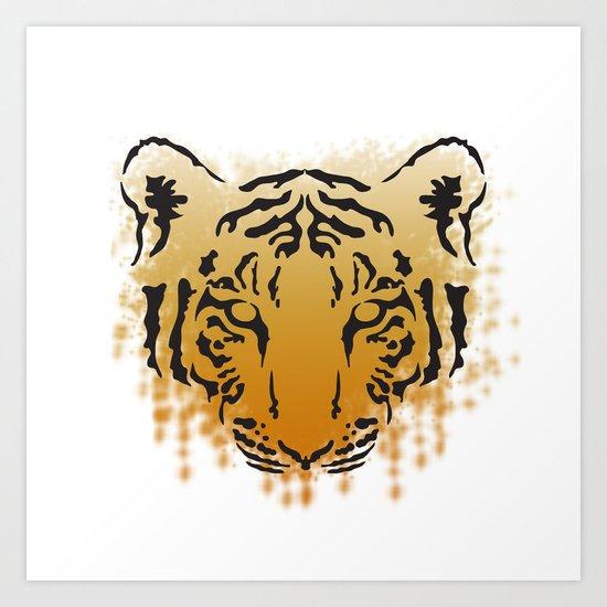 Tiger Splatter Art Print