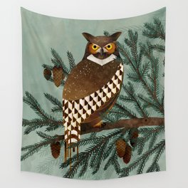 Horned Owl in the Pines Wall Tapestry