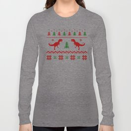 Christmas Ugly Dinosaur Sweater pattern Long Sleeve T-shirt