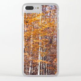 Golden brown leaves Clear iPhone Case