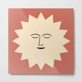 Minimal Sun- Red Metal Print