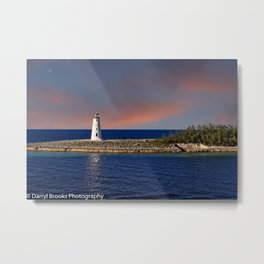 Lighthouse at End of Point Metal Print