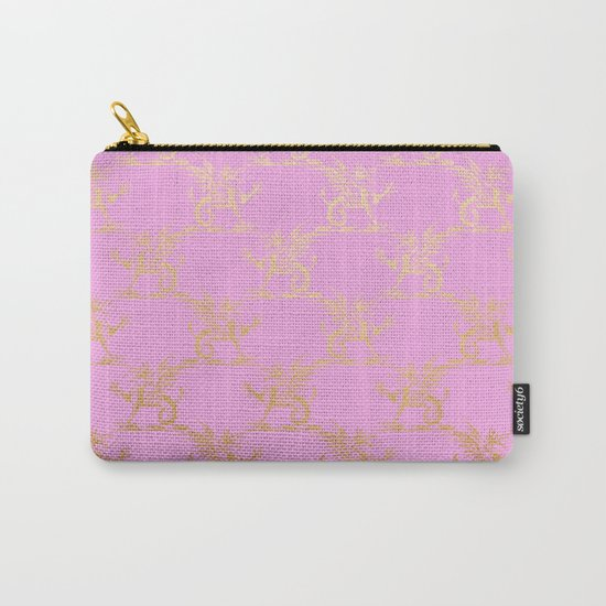 Princess like I - Gold glitter effect lion pattern on pink background #Society6 Carry-All Pouch