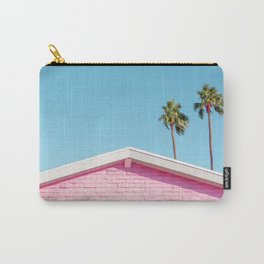 Pink House Roofline with Palm Trees (Palm Springs) Carry-All Pouch