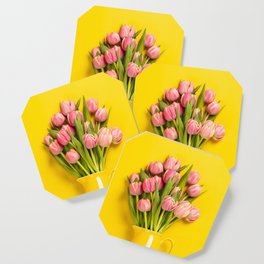 Fresh pink tulips in a jug, close up Coaster