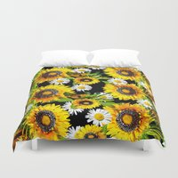 sunflowers Duvet Covers featuring Sunflowers by Saundra Myles