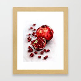 Red pomegranate watercolor art painting Framed Art Print