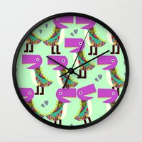 monsters Wall Clocks featuring Monsters by luizavictoryaPatterns