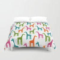 giraffes Duvet Covers featuring Giraffes by ts55