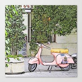 I love adventure; pink scooter digital art Canvas Print