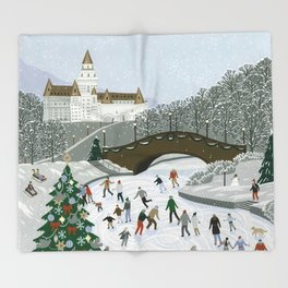 Ice skating pond Throw Blanket