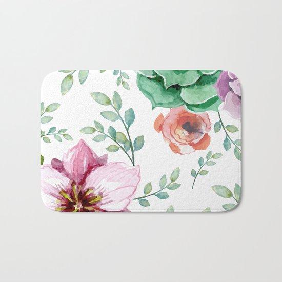 FLOWERS WATERCOLOR Bath Mat