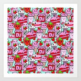 Kawaii Strawberries Art Print
