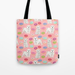 Maltese donuts dog breed funny pet lover dog person pattern print by pet friendly Tote Bag