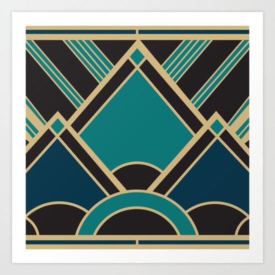 Art Deco New Tomorrow In Turquoise Art Print