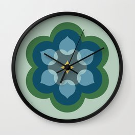 Modern Bloom in Mint Green and Blue Wall Clock