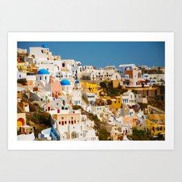 Homes On The Hillside (Santorini, Greece) Art Print