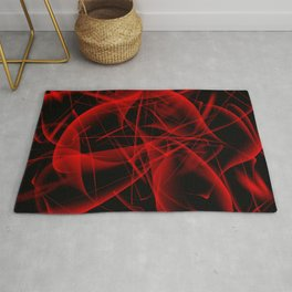 Glowing web of red cosmic lines of energy and a mystical smoke screen on a black background. Rug