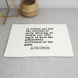 The radiance of the early morning ― Fitzgerald quote Rug