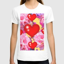 Red Hearts Art & Pink Floral Purple Patterns T-shirt