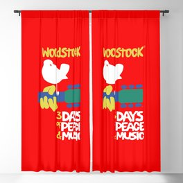 Woodstock 1969 - red background Blackout Curtain