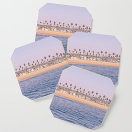 Vintage Newport Beach Print {2 of 4} | Photography Ocean Palm Trees Magenta Tropical Summer Sky Coaster