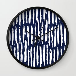 Vertical Dash White on Navy Blue Paint Stripes Wall Clock
