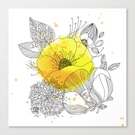 Yellow Floral Burst Canvas Print