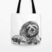 sloth Tote Bags featuring sloth by ARI(Sunha Jung)