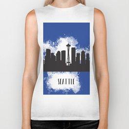 Seattle skyline silhouette Biker Tank