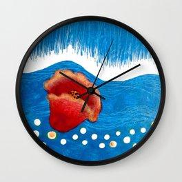 Coquelicot et pluie Wall Clock
