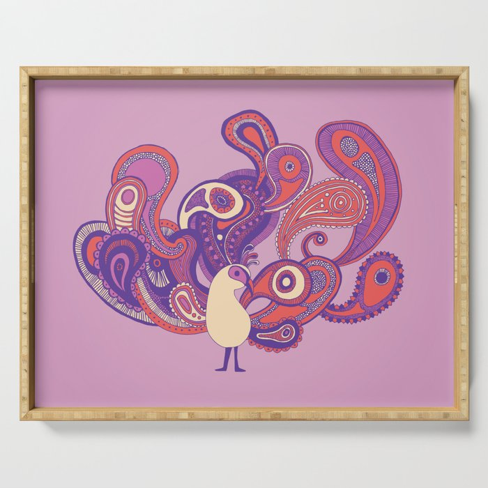 Purple Paisley Peacock Serving Tray