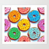 donuts Art Prints featuring Donuts by Helene Michau