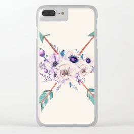 Floral Arrows Clear iPhone Case