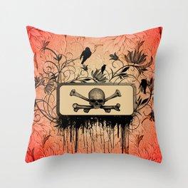 Skull with bones Throw Pillow