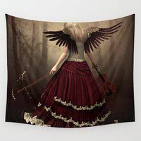 angels Wall Tapestries featuring angels symphony by Ancello