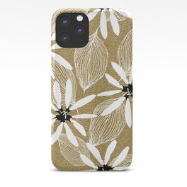 Large White Forest Flowers and Leaves on Beige Sand #decor #society6 #buyart iPhone Case
