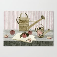 Watering Cans and Apples Canvas Print