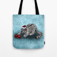 snow leopard Tote Bags featuring Snow Leopard by Anna Shell