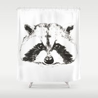 racoon Shower Curtains featuring racoon by eclecticliving