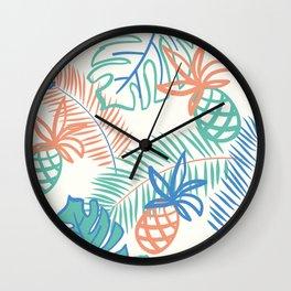 Pineapple pattern. Tropical foliage Wall Clock