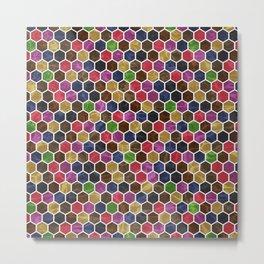 Colorful Hexagon Seamless Pattern Metal Print