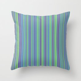 Lime Violet Candy Lines Throw Pillow
