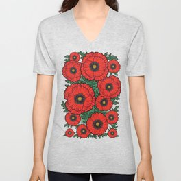 Happy Poppies / Beautiful Flowers / The Best Gift Unisex V-Neck