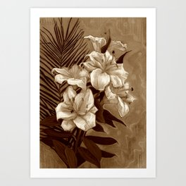 White Lilies and Palm Leaf in brownscale Art Print